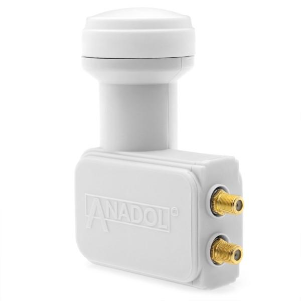 Anadol Gold Line Twin LNB 0.1 dB inklusiv 4 vergoldete F-Stecker gratis-Copy