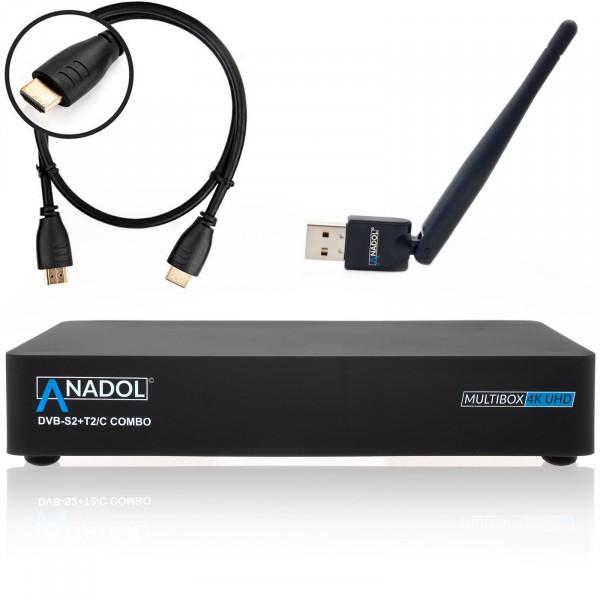 Anadol MULTIBOX 4K UHD E2 Linux Combo Receiver mit DVB-S2 + DVB-C/T2 Tuner Inkl. Anadol WIFI Stick m