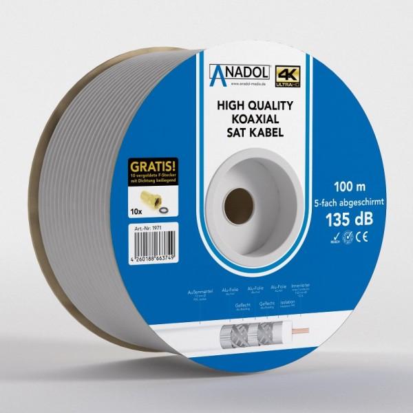 Anadol Brandschutz-Koaxialkabel 135dB, 100m Spule, 7mm, 5fach geschirmt,Norm EN 50575, Brandschutzkl