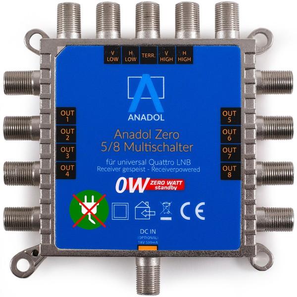Anadol Zero Watt 5/8 Stromloser Multischalter für 8 Teilnehmer, für Quattro und Quad LNB`s geeignet