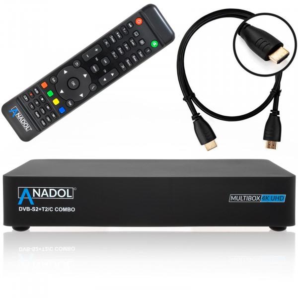 Anadol MULTIBOX 4K UHD E2 Linux Combo Receiver mit DVB-S2 + DVB-C/T2 Tuner